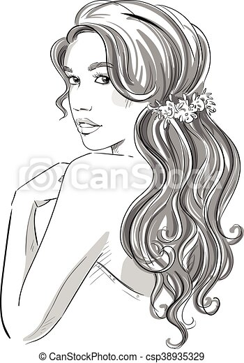 Sketch Of A Beautiful Girl With Bridal Hairstyle Black And White