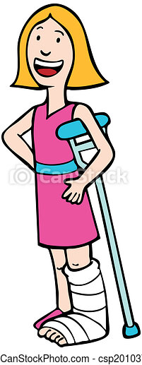 girl with broken leg crutch girl wearing a cast on her leg rh canstockphoto com broken ankle clipart broken ankle clipart