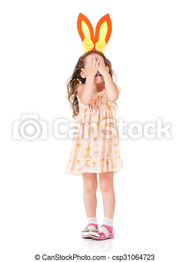 Girl with bunny ears - csp31064723