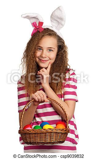 Girl with bunny ears - csp9039832