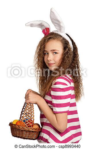 Girl with bunny ears - csp8993440