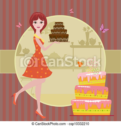 Girl with chocolate cake - csp10332210
