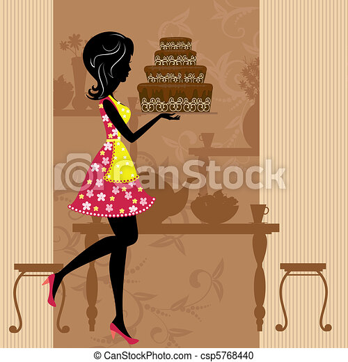 Girl with chocolate cake - csp5768440