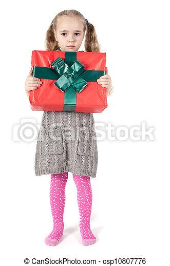 girl with christmas present - csp10807776