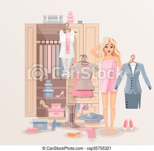 Girl with clothes closet - csp35755321