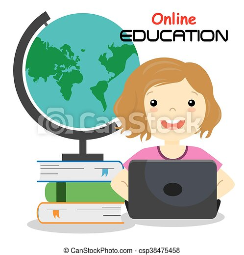 girl with computer studying online isolated vector clipart vector rh canstockphoto com
