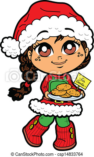 cute young girl with cookies for santa and santa hat clip art vector rh canstockphoto com cute santa clipart cute santa face clipart