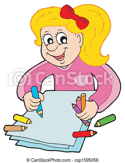 Paper Template With Happy Girl And Pencil Illustration
