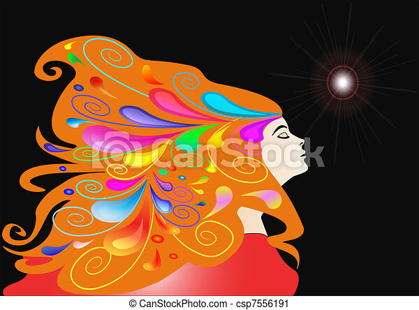 girl with developing hair and pattern - csp7556191