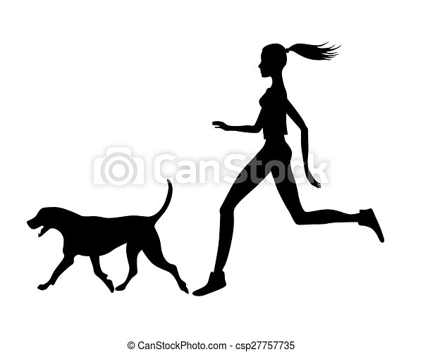 girl with dog eps girl running with dog vectors search clip art rh canstockphoto com  dog running away clipart