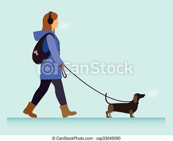 girl with dog walking - csp33045090