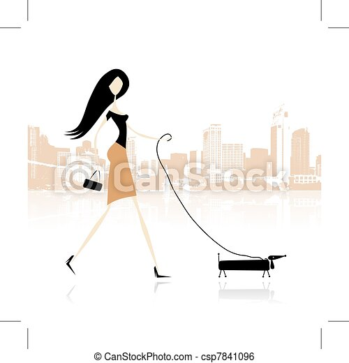 Girl with dog walking in the city - csp7841096