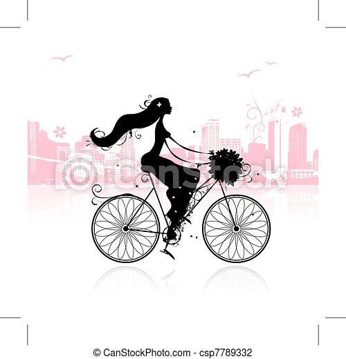 Girl with floral bouquet cycling in the city - csp7789332