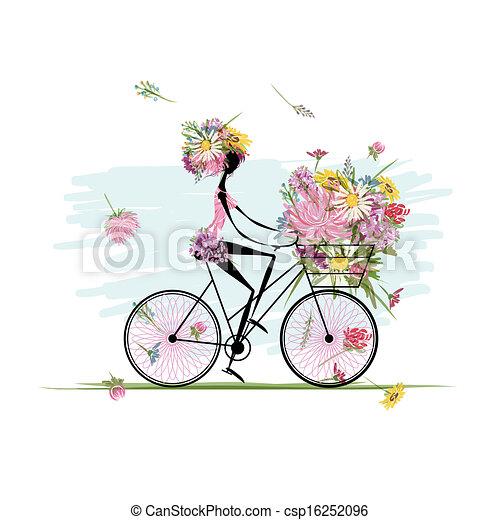 Girl with floral bouquet in basket cycling - csp16252096