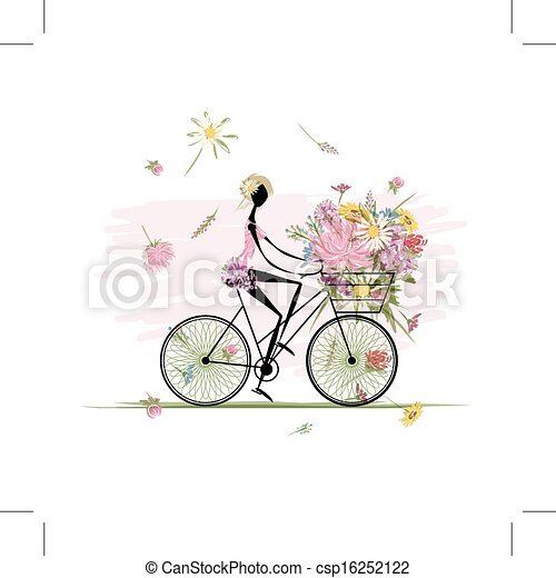 Girl with floral bouquet in basket cycling - csp16252122