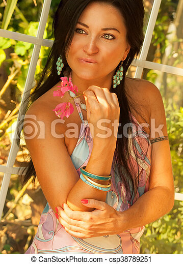 girl with flower at vacation in hotel - csp38789251