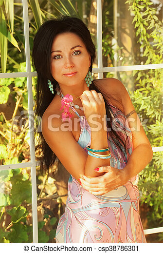 girl with flower at vacation in hotel - csp38786301