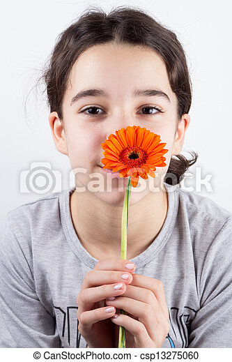 girl with flower - csp13275060
