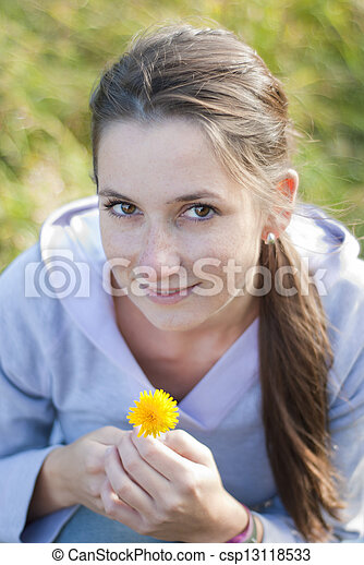 Girl with flower - csp13118533