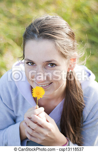 Girl with flower - csp13118537