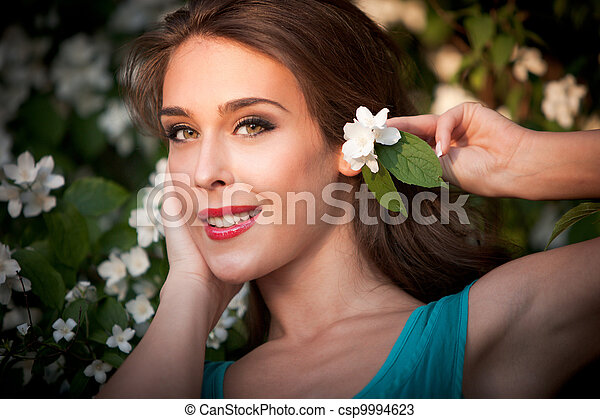 girl with flower - csp9994623