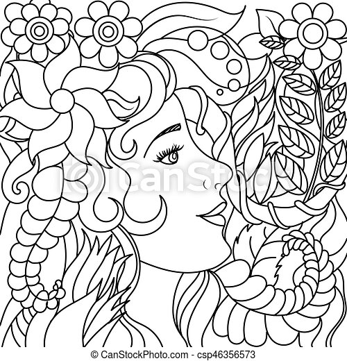 Girl With Flowers Coloring Book Vector
