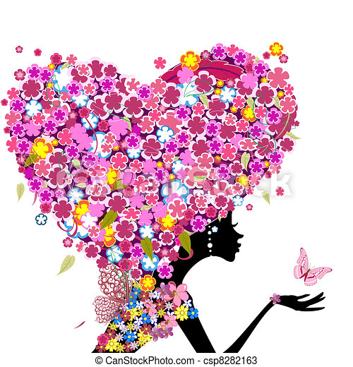 Girl with flowers on her head in the shape of a heart - csp8282163