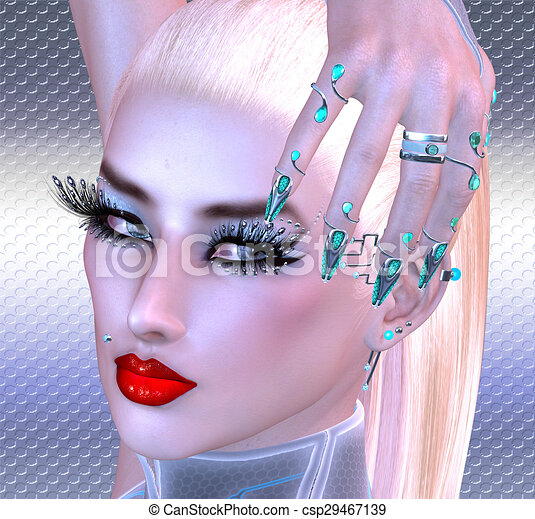 Girl with futuristic nails - csp29467139