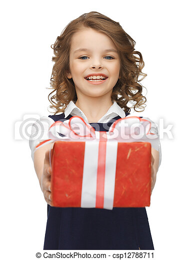girl with gift box - csp12788711