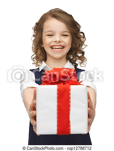 girl with gift box - csp12788712