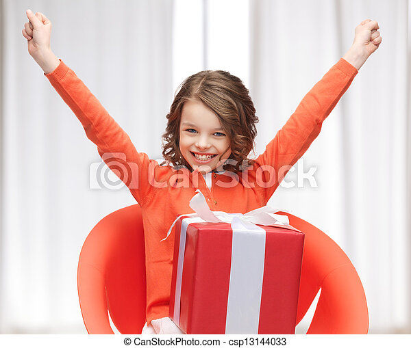girl with gift box - csp13144033