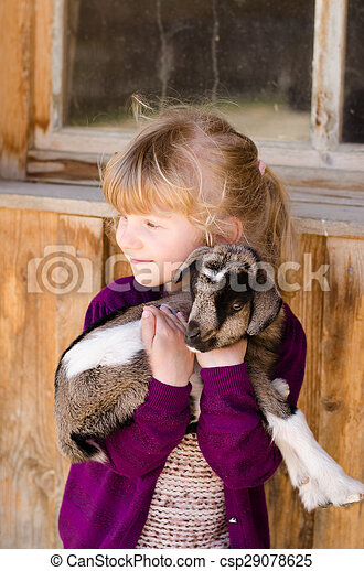 girl with goat - csp29078625