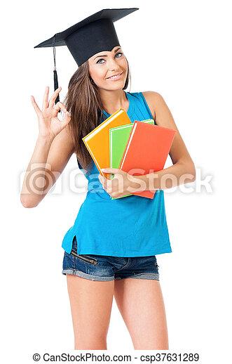 Girl with graduation hat - csp37631289