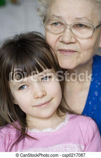 girl with grandma - csp0217087