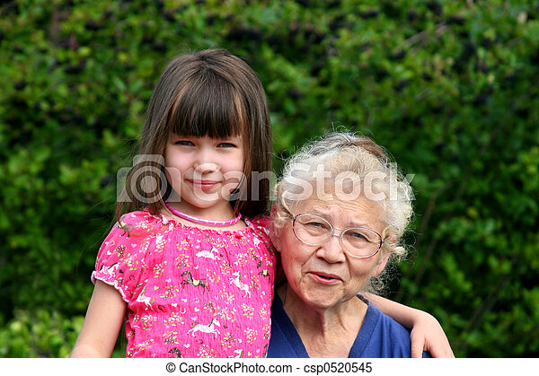 girl with grandma - csp0520545