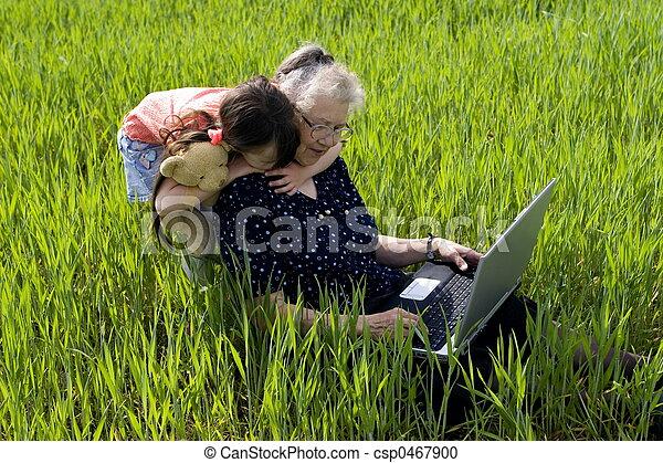 girl with grandma  - csp0467900