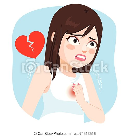 Girl With Heart Stroke Pain - csp74518516