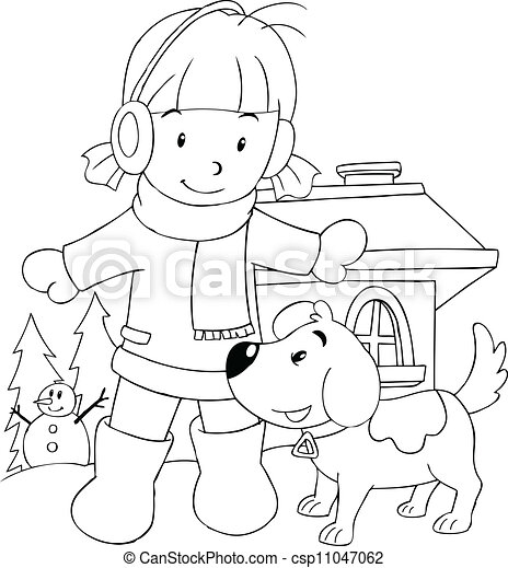 girl with her dog colouring page csp11047062 - Picture Outlines For Colouring