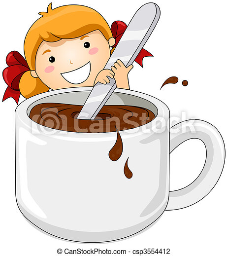 Girl with Hot Chocolate - csp3554412