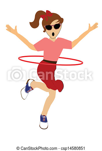 girl with hula hoop girl twirling hula hoop around her waist rh canstockphoto com hula hooping clipart hula hoop clipart images