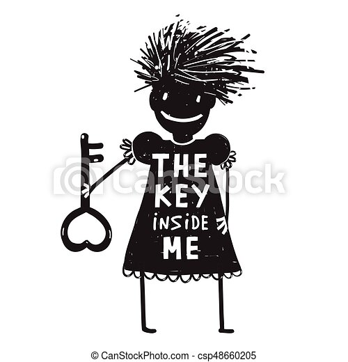 Girl with Key Cartoon - csp48660205