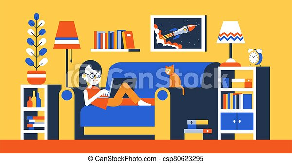 Girl with laptop on sofa in room interior work home - csp80623295
