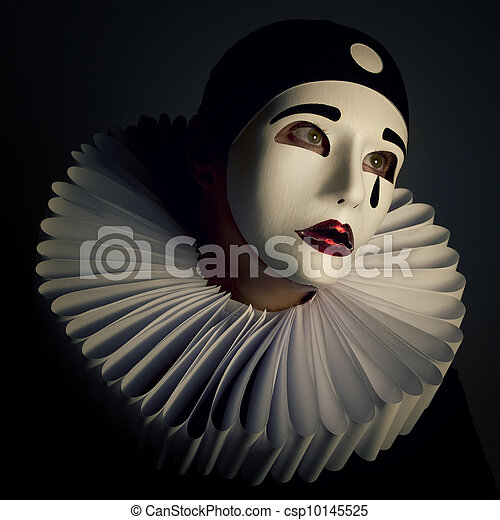 Girl with mask pierrot.