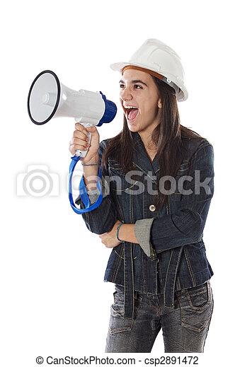 Girl with megaphone - csp2891472