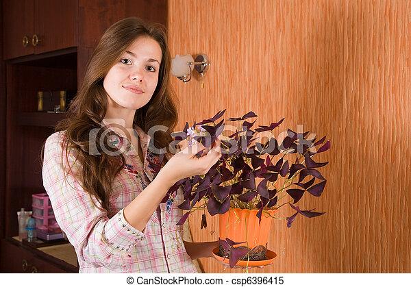 girl with oxalis flower in pot - csp6396415