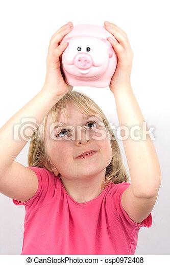 Girl with Piggy Bank - csp0972408