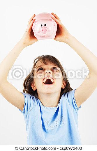 Girl with Piggy Bank - csp0972400