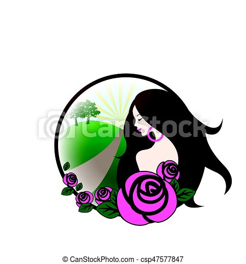 Girl with pink roses - csp47577847