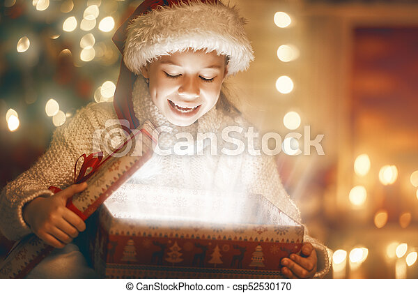 girl with present gift box - csp52530170