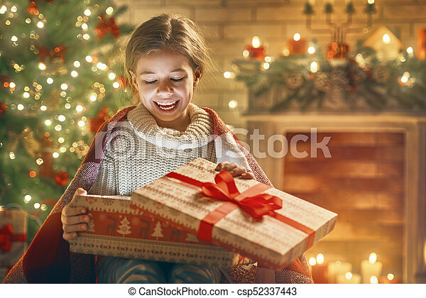 girl with present gift box - csp52337443